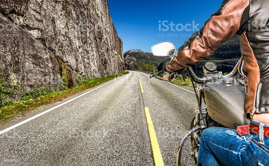 Biker girl First-person view stock photo