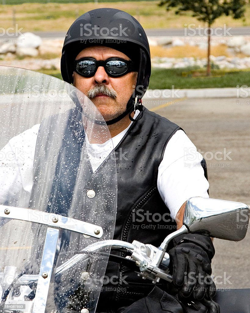 Biker in Leathers and Helmet. royalty-free stock photo