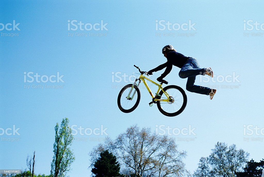 Biker in the air royalty-free stock photo