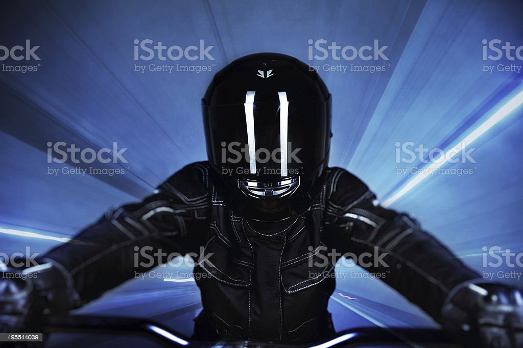 Biker in Tunnel stock photo