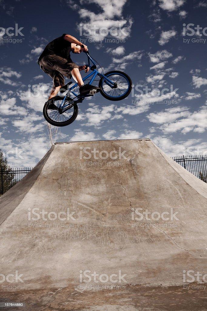 Biker Jumping at a Skate Park royalty-free stock photo