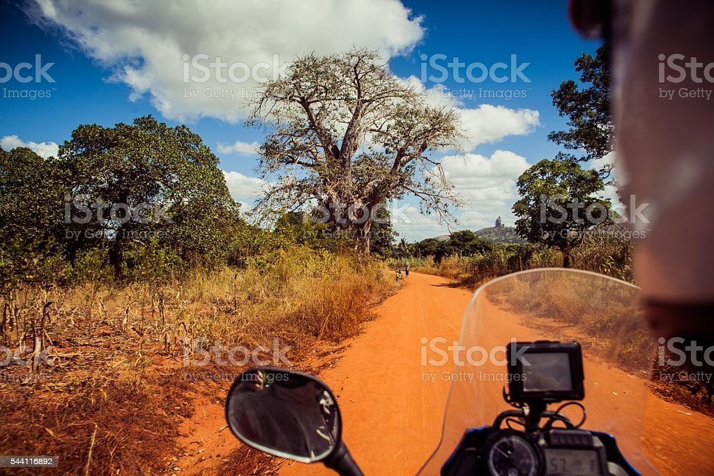 Biker looks at baobab tree in Mozambique stock photo