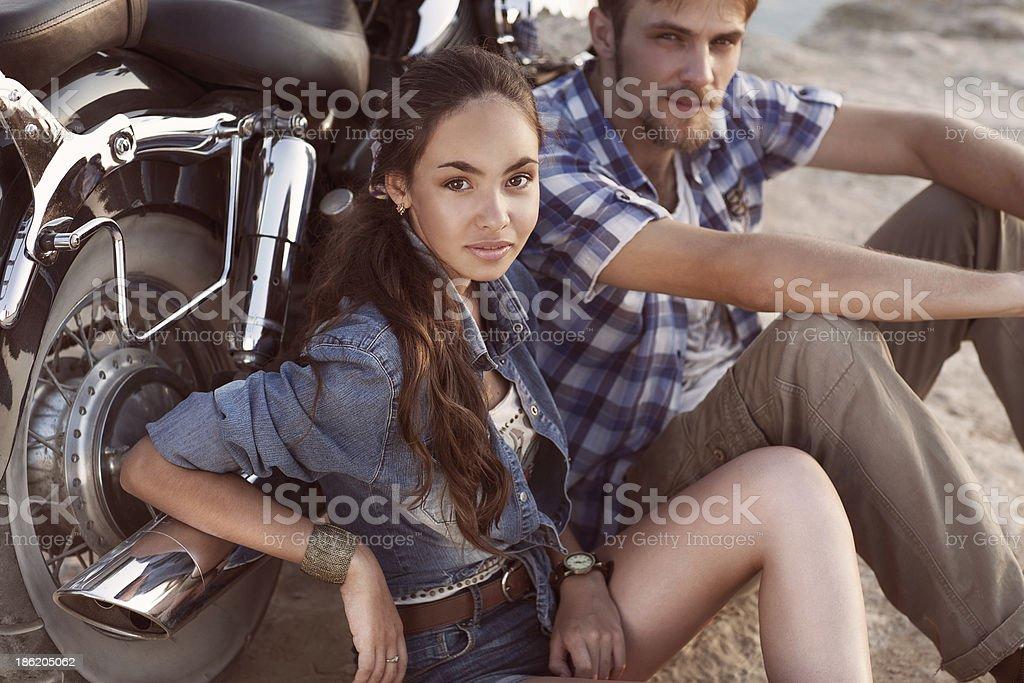 Biker man and girl royalty-free stock photo