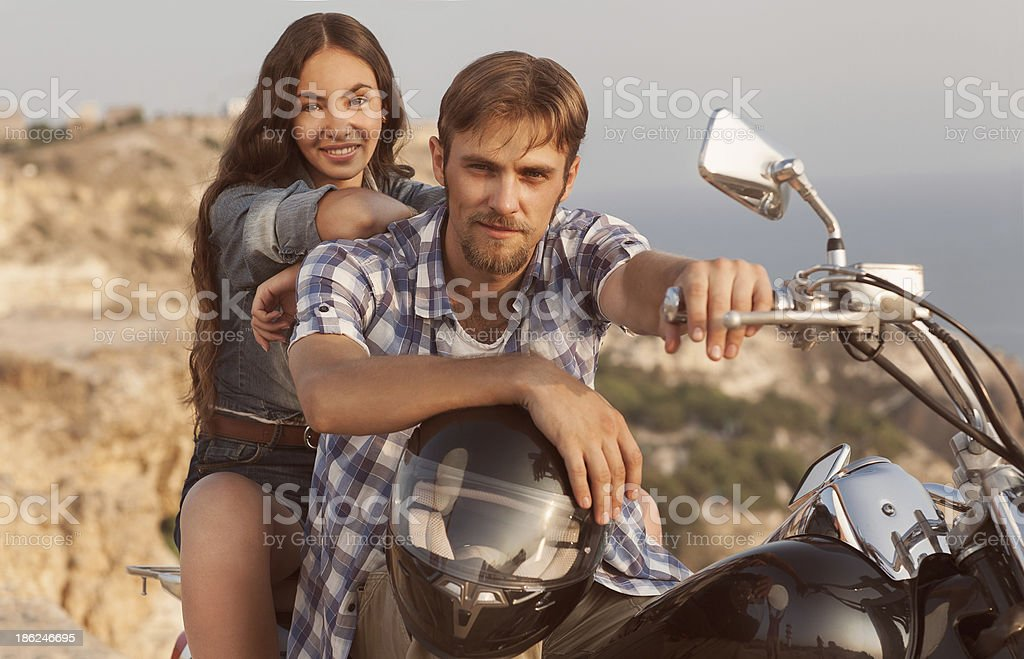 Biker man and girl royalty-free stock photo