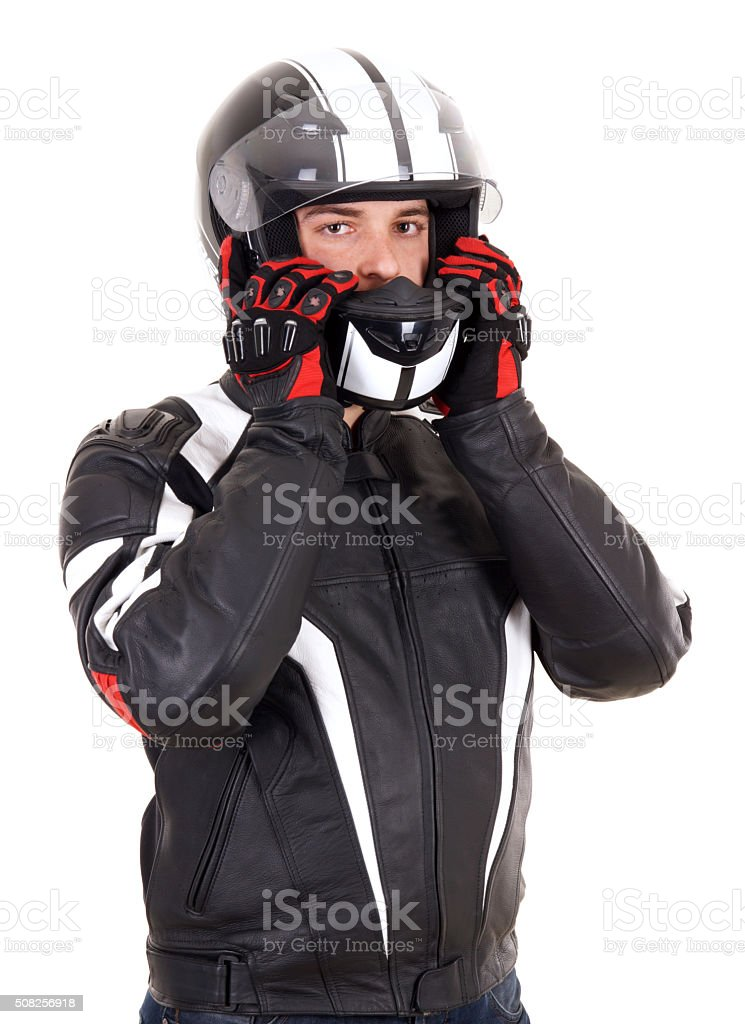 Biker man stock photo