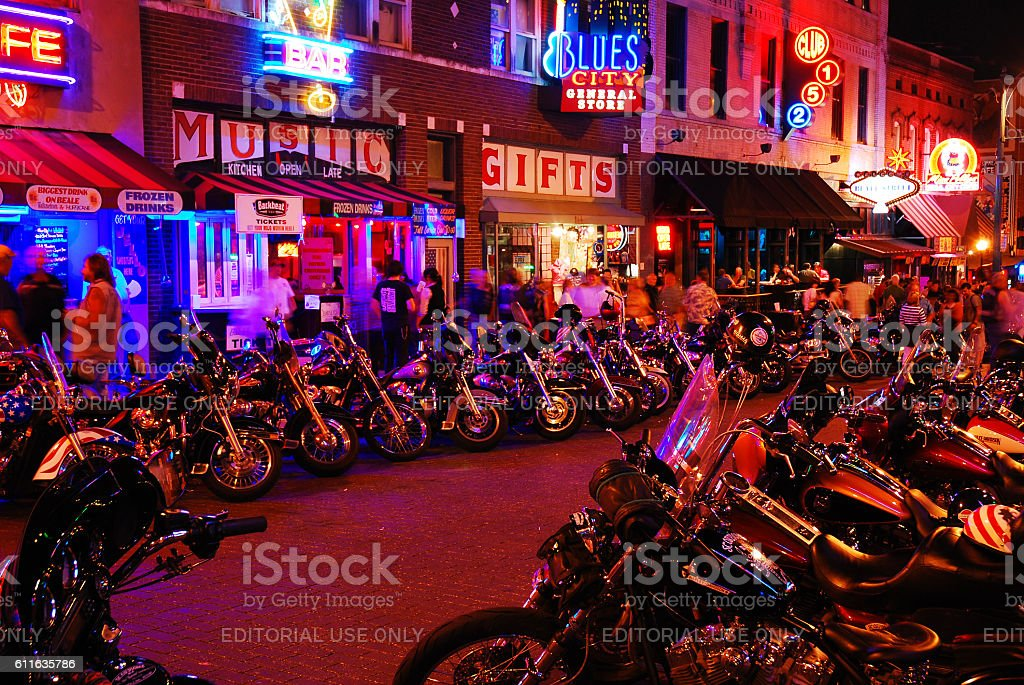 Biker Night, Beale Street Memphis stock photo