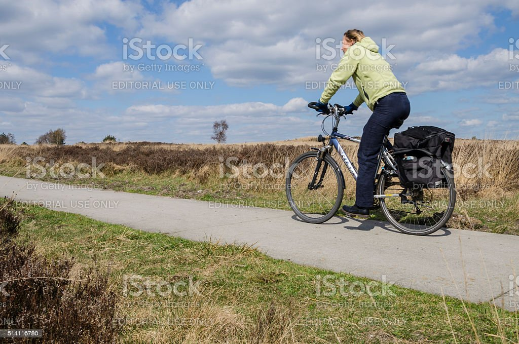 Biker on a cycle path stock photo