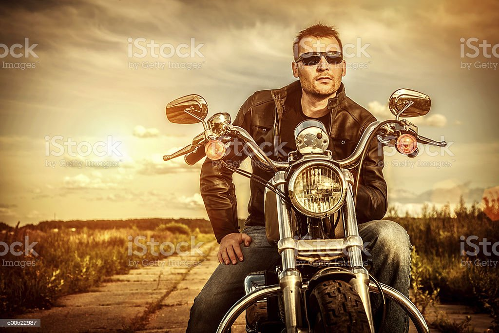 Biker on a motorcycle stock photo