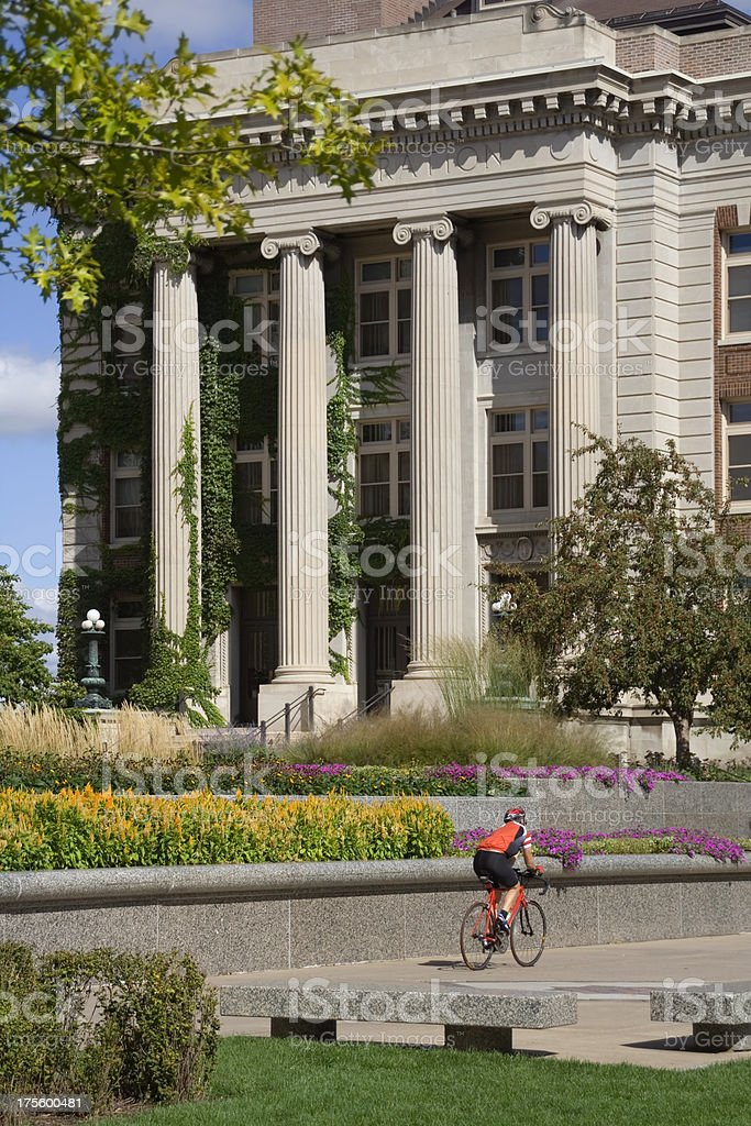 Biker on Campus stock photo
