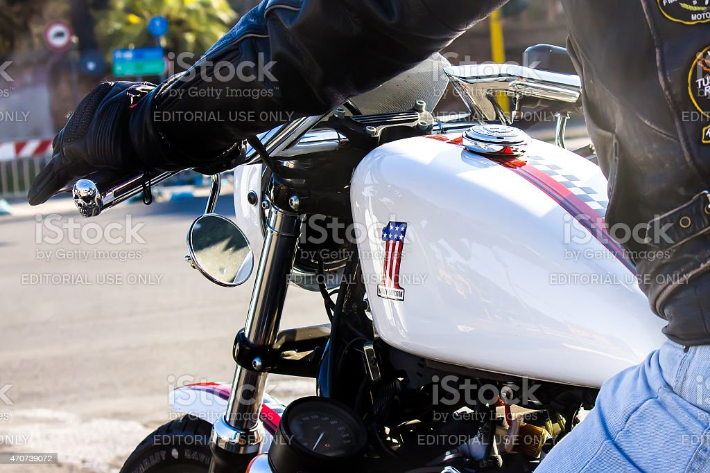 Biker riding a motorcycle stock photo