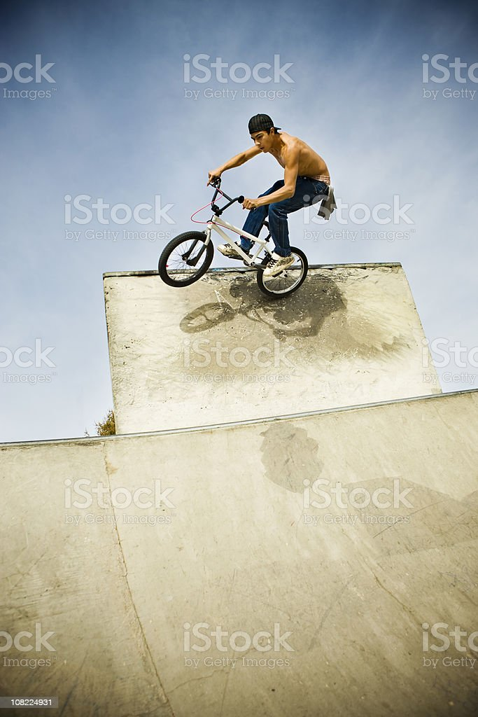 BMX Biker Riding Ramp stock photo
