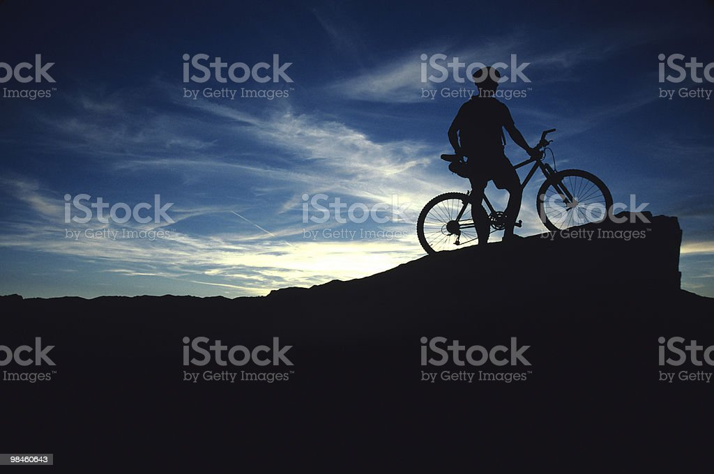 Biker silhouette royalty-free stock photo