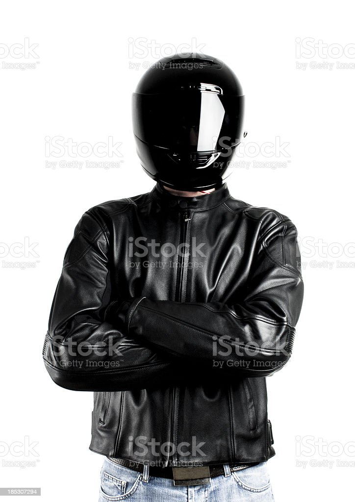 Biker with arms crossed stock photo