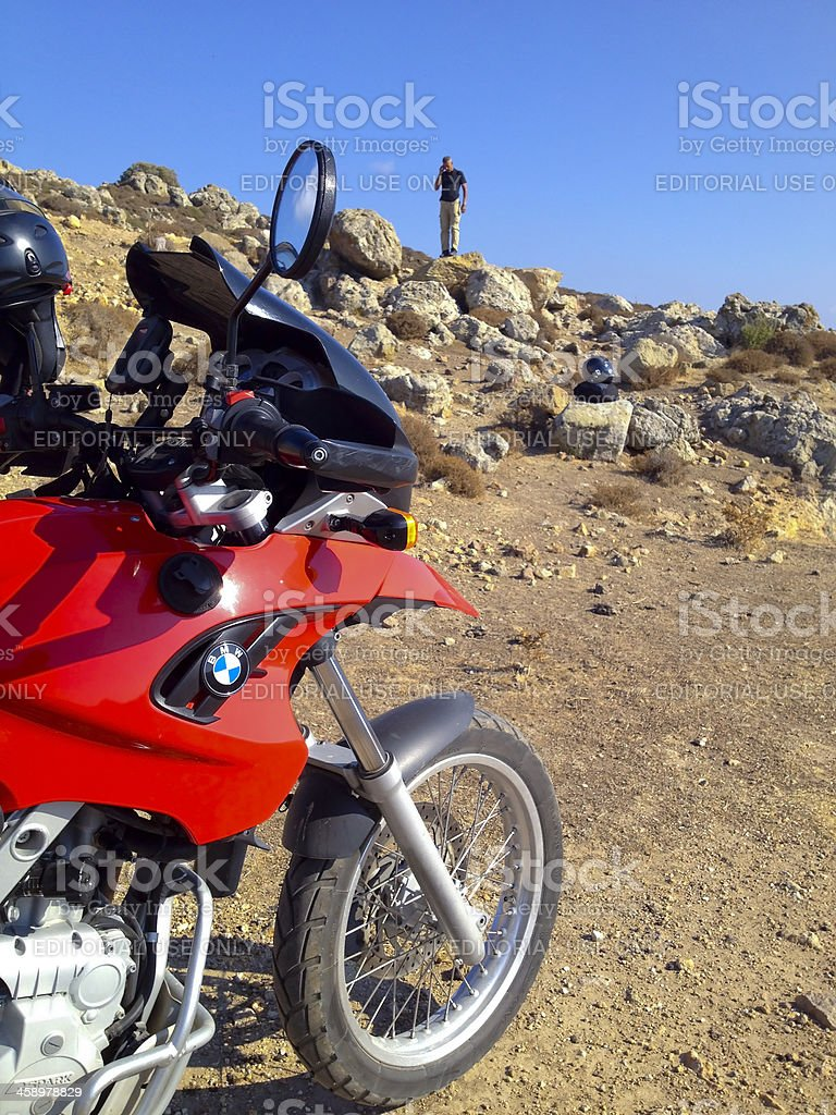 Biker with BMW F650 GS on off-road stock photo