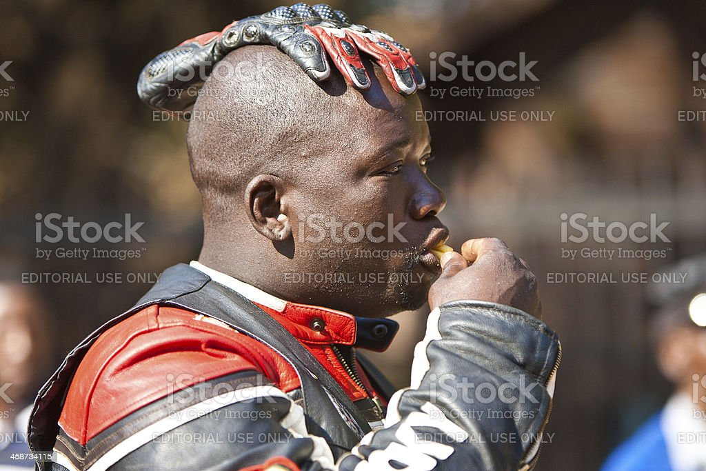 Biker with glove royalty-free stock photo