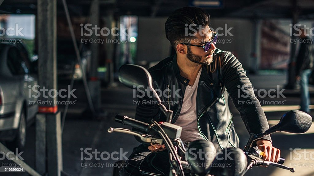 Biker with style stock photo
