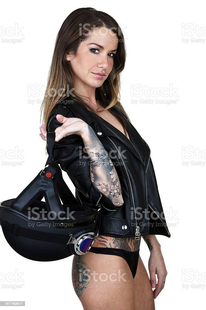 Biker woman stock photo