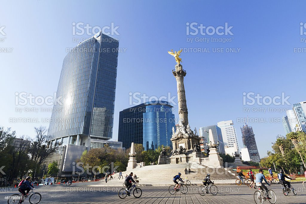 Bikers and runners at Mexico City Sunday Ride stock photo