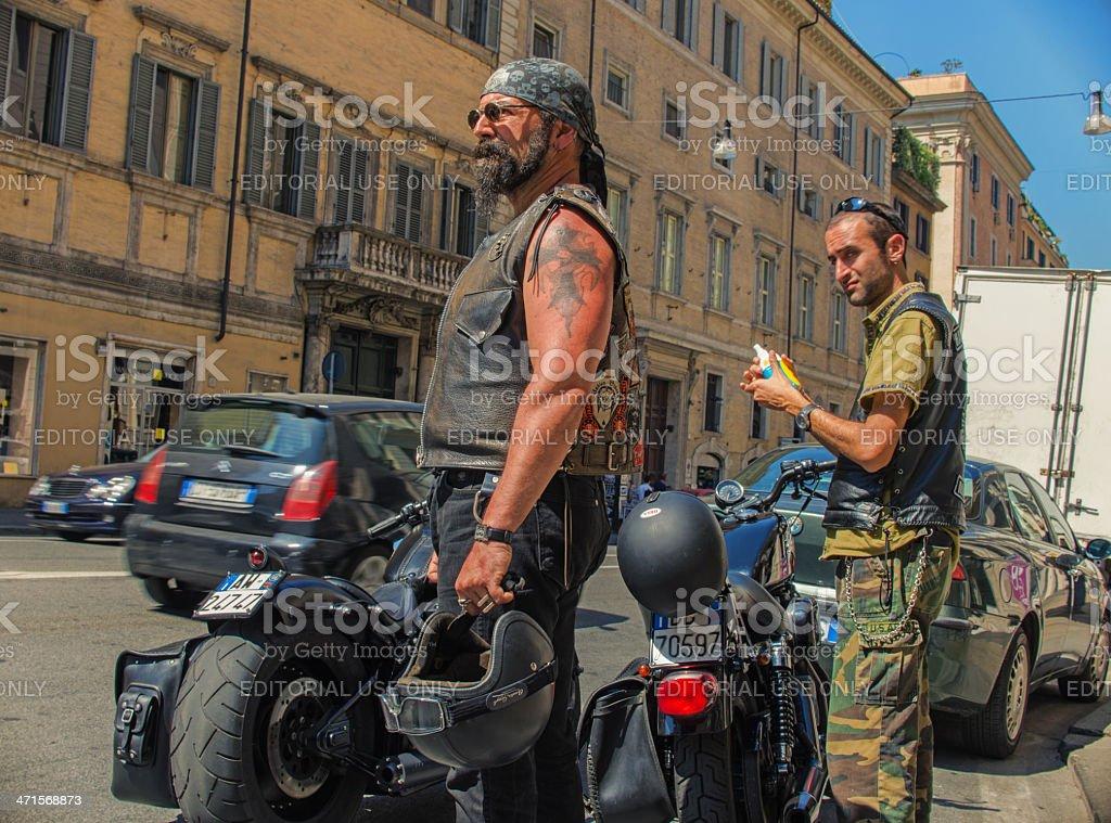 Bikers in Rome, Harley Meeting 2013 stock photo