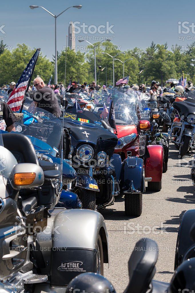 Bikers in the Pentagon's parking lot ahead of Rolling Thunder stock photo