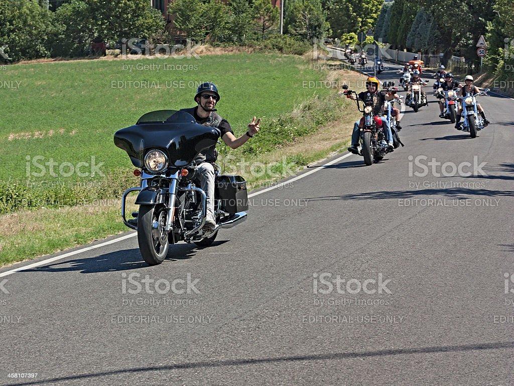 bikers riding Harley Davidson stock photo