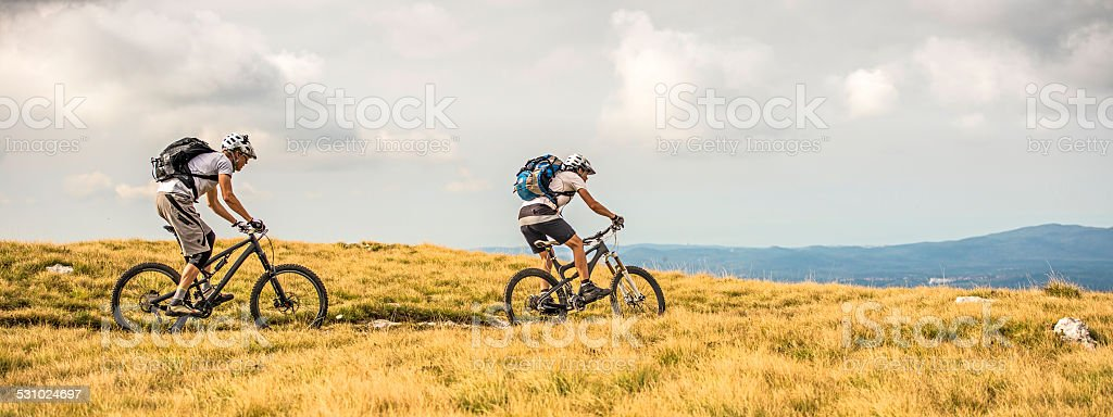 Bikers Riding on Grassy Planes stock photo