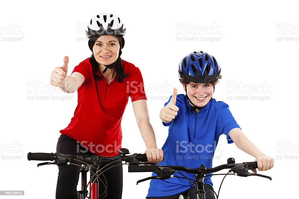 Bikers showing ok sign isolated on white background royalty-free stock photo