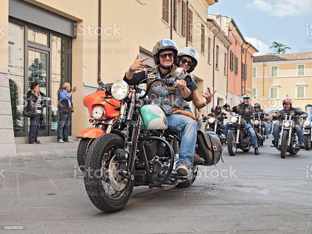 bikers waves riding Harley Davidson stock photo