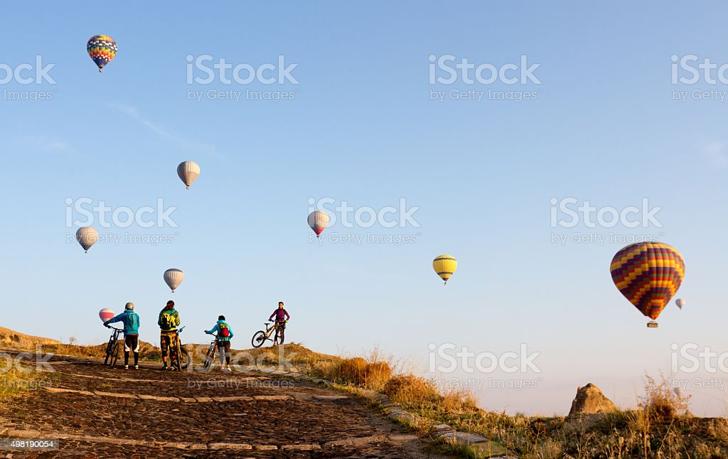 Bikes and balloons stock photo