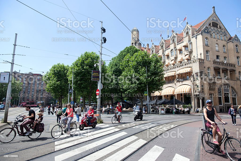 bikes and scooters in front of American Hotel royalty-free stock photo