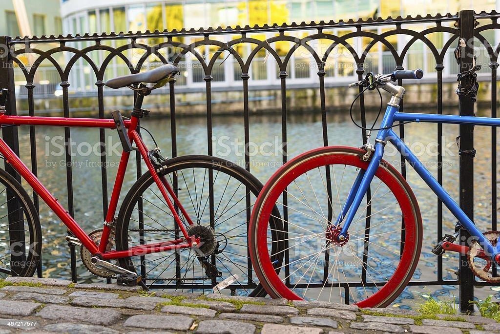 Bikes at river bank stock photo