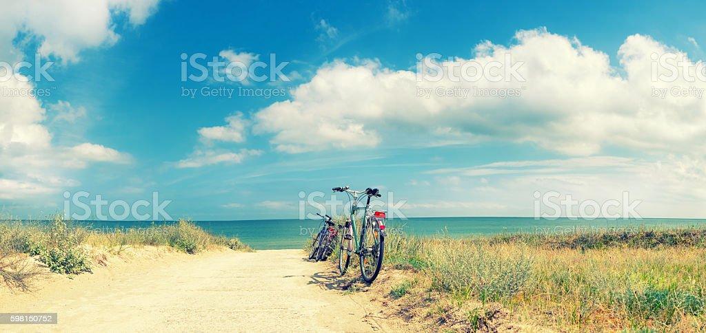 Bikes at the Beach stock photo