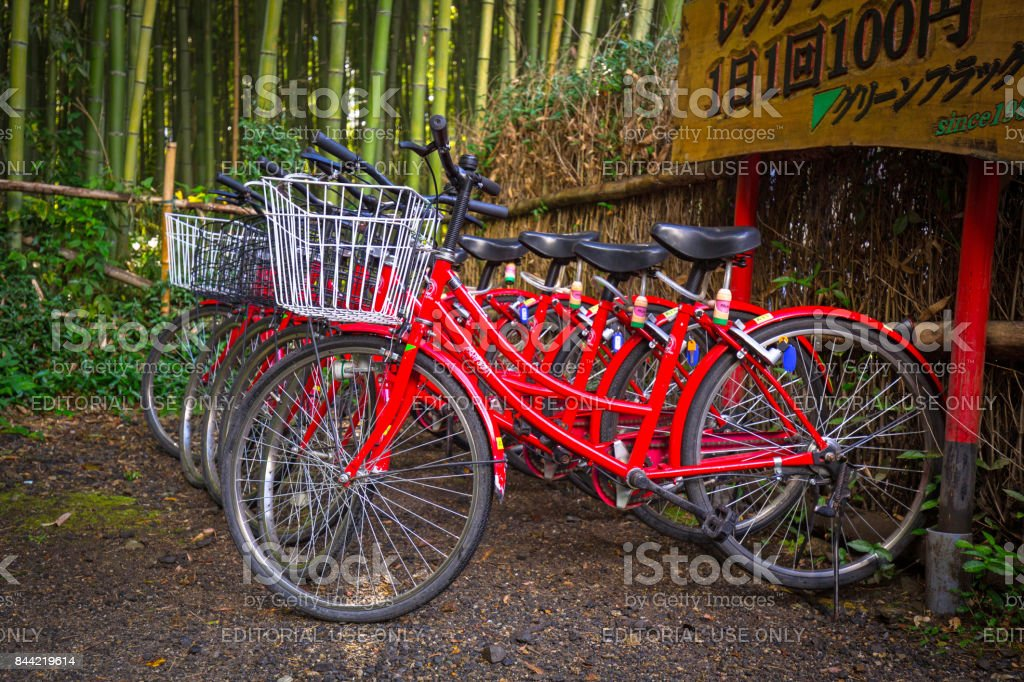 Bikes for rent in Arahiyama district of Kyoto, Japan stock photo
