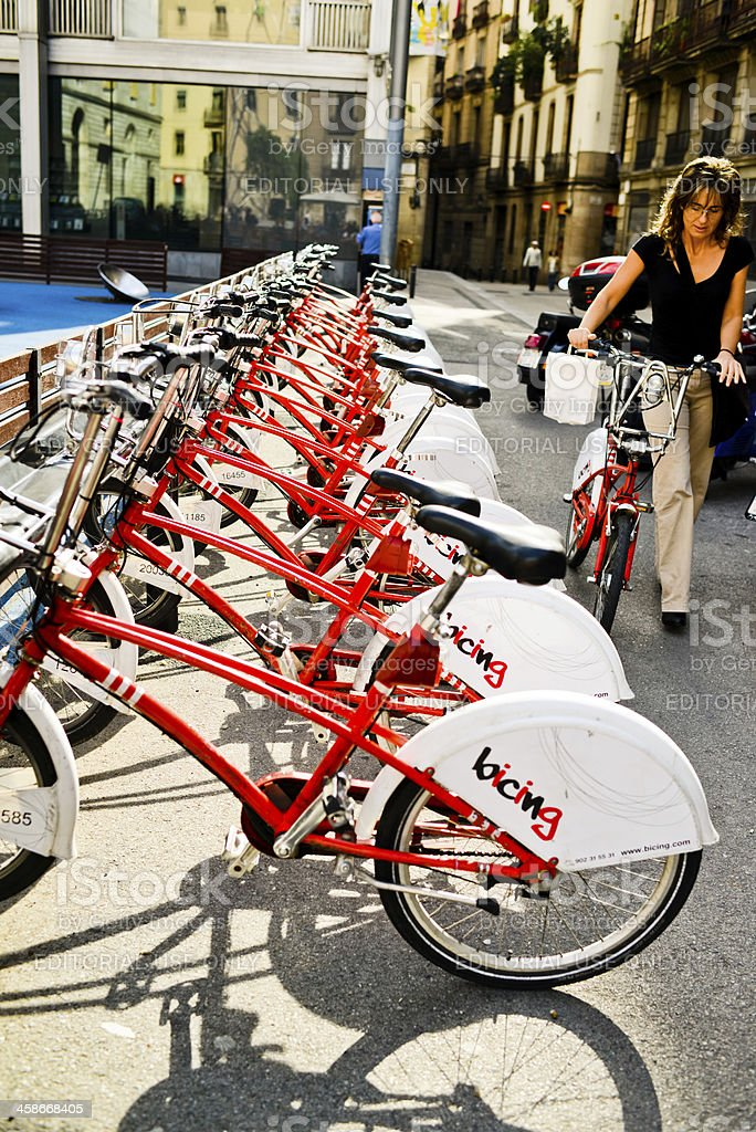 Bikes For Rent in Barcelona, Spain royalty-free stock photo