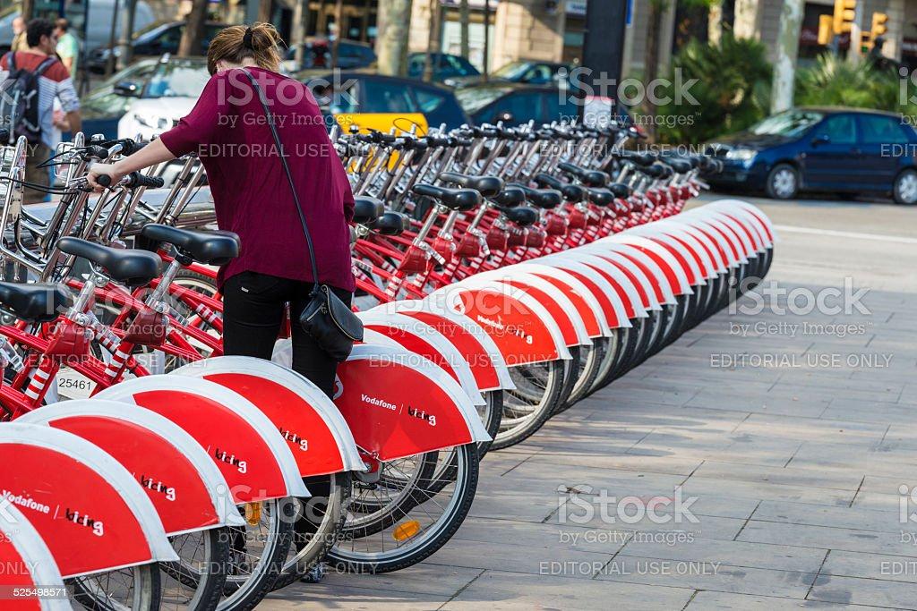 Bikes In A Row, Barcelona stock photo