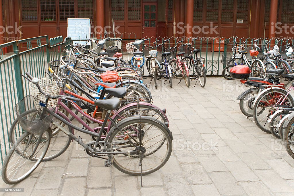 Bikes In a Row Parking Lot, Beijing, China royalty-free stock photo