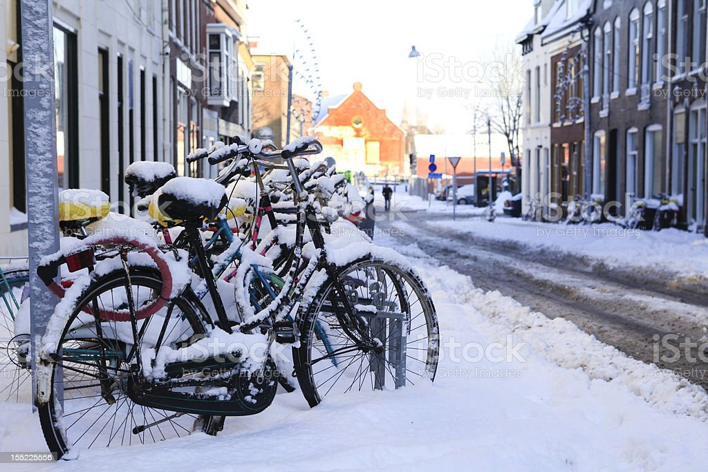 Bikes in the snow royalty-free stock photo