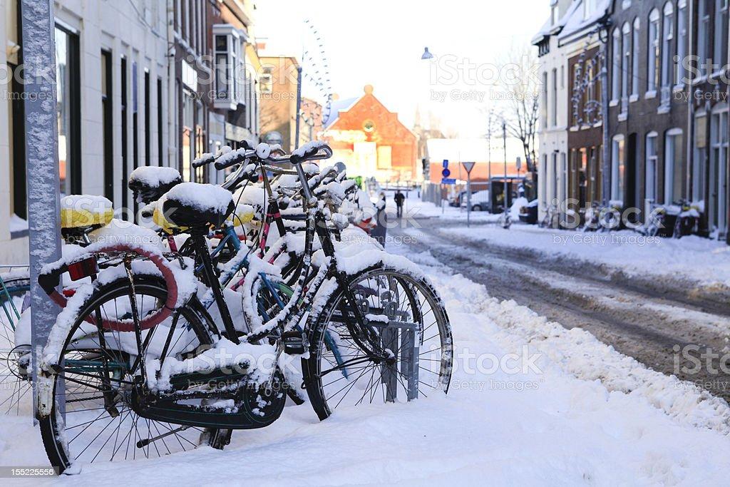 Bikes in the snow stock photo