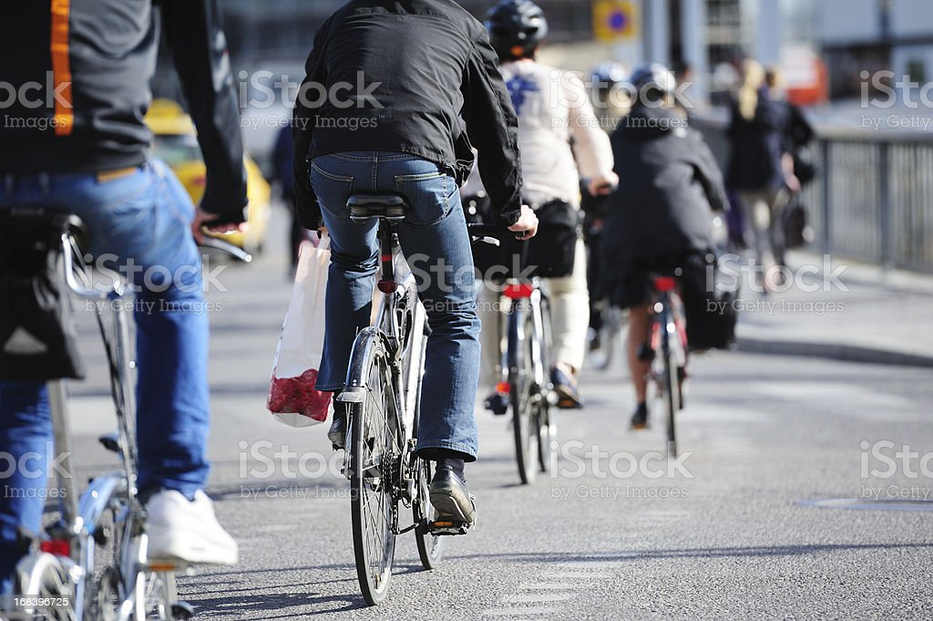 Bikes in traffic royalty-free stock photo