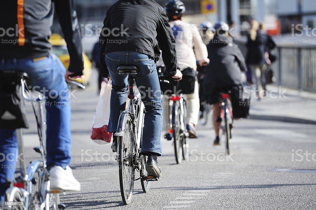 Bikes in traffic stock photo