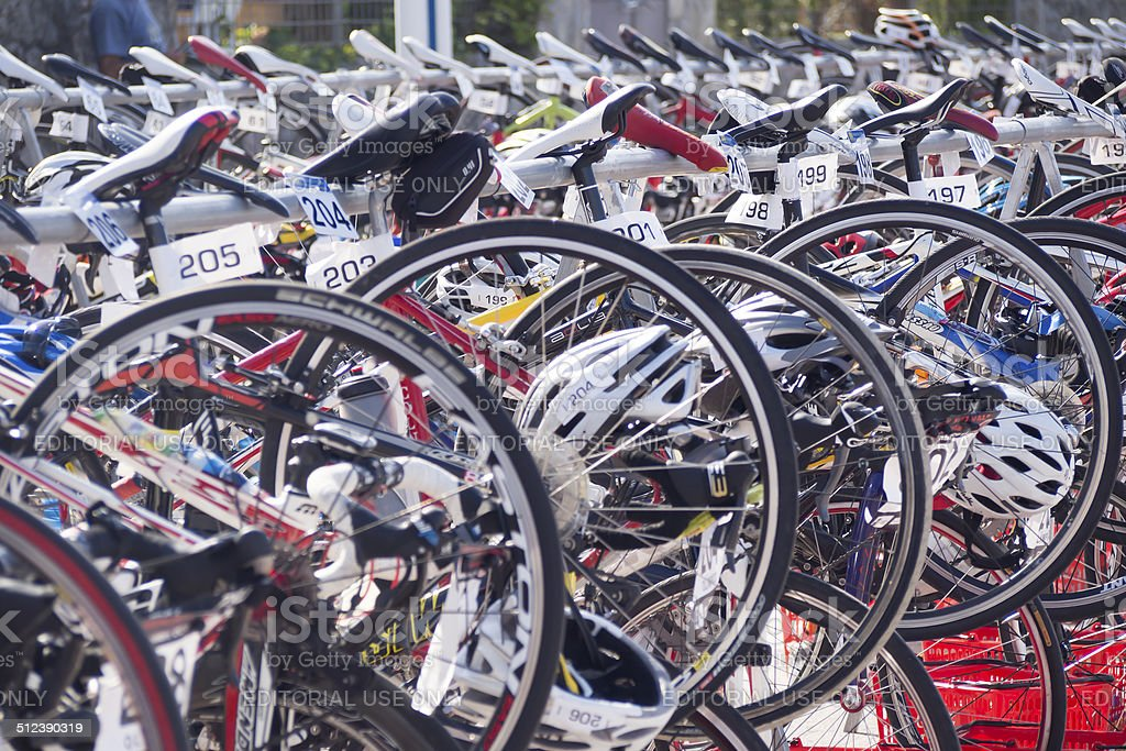 Bikes line waiting during a triathlon competition stock photo