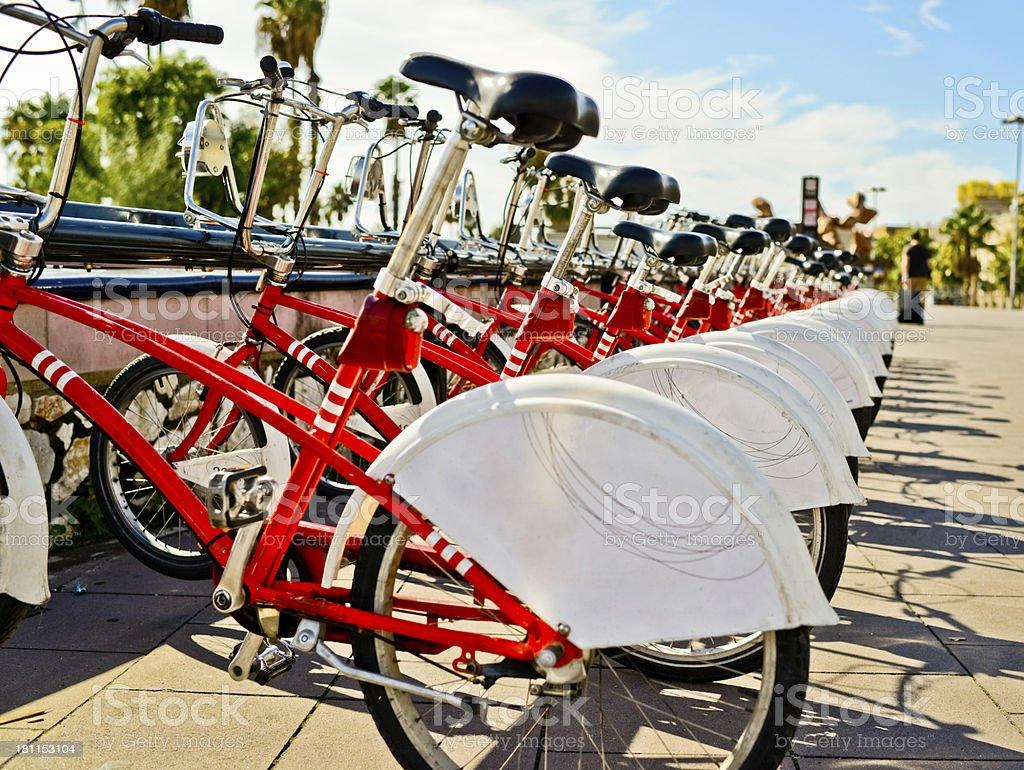 Bikes on Barcelona street stock photo