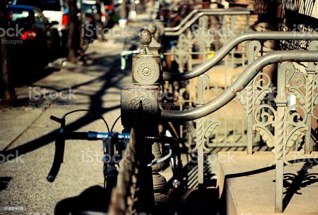Bikes on the Clinton Hill Neightborhood Stairs Handrail stock photo