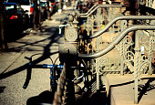 Bikes on the Clinton Hill Neightborhood Stairs Handrail
