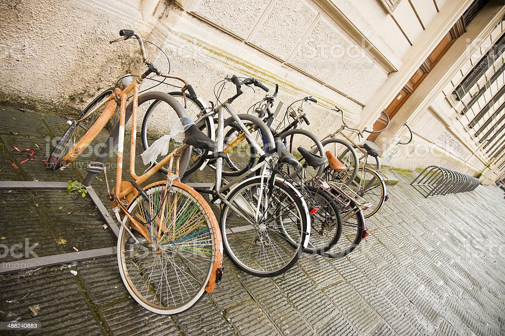 Bikes Parked in the Street (Italy University) stock photo
