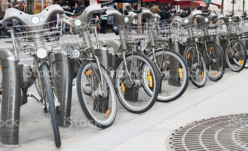 Bikes parking in a Paris street royalty-free stock photo