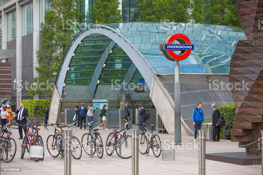 Bikes parking in Canary Wharf. London stock photo