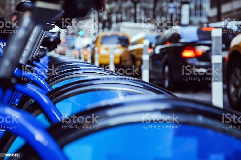 bikes rent new york stock photo