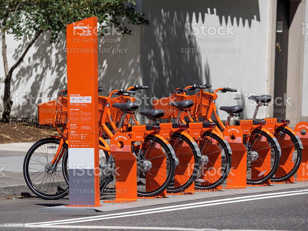 Biketown Bike Share Station Orange Bikes Downtown Portland Oregon stock photo
