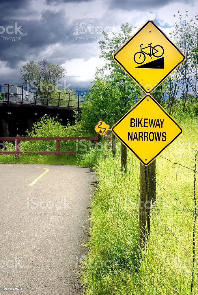 Bikeway Narrows Sign stock photo